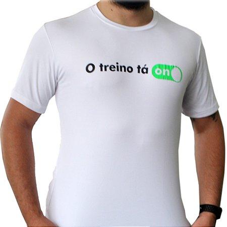 Camiseta Poliamida Esporte Premium O Treino Tá On Branco Monaro