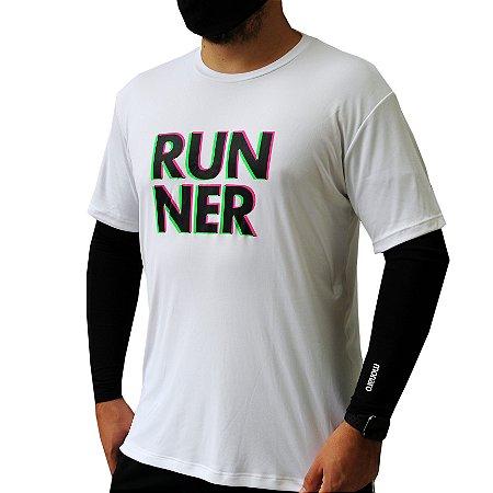 Camiseta Poliamida Esporte Premium Runner 3D Branco Monaro