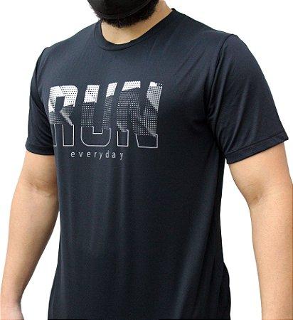 Camiseta Poliamida Esporte Running Run Everyday Preto