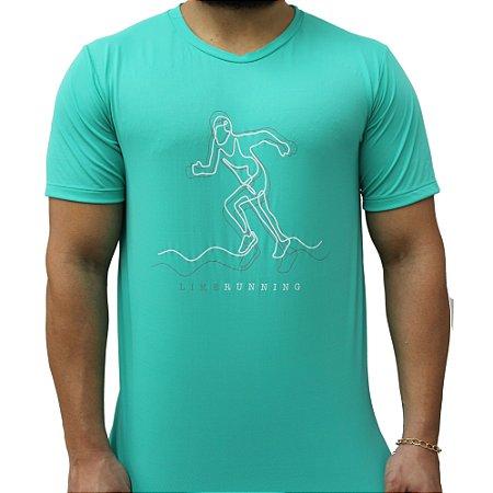 Camiseta Poliamida Esporte Like Running Verde Água