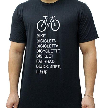 Camiseta Poliamida Esporte Running Bike Idiomas Preto