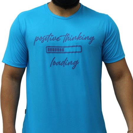 Camiseta Poliamida Esporte Running Positive Thinking Azul Médio