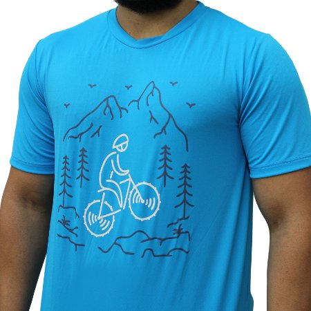 Camiseta Poliamida Esporte Running Bike e Floresta Azul Médio