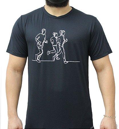 Camiseta Poliamida Esporte Running Lines Preto