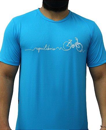 Camiseta Poliamida Esporte Running Equilíbrio Azul Médio