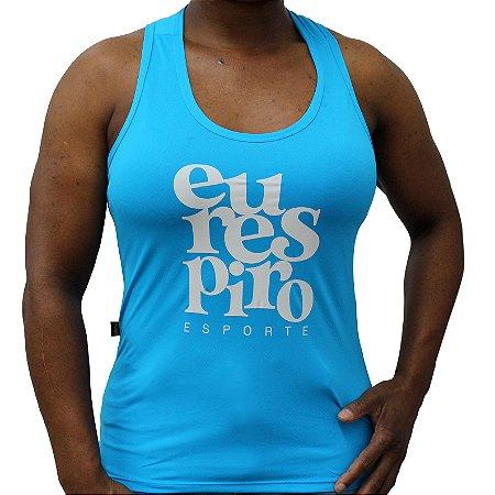 Regata Feminina Nadador Poliamida Esporte Running Eu Respiro Azul Médio