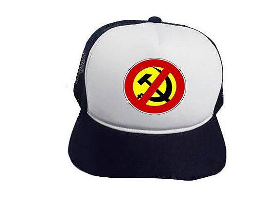 Boné Trucker Preto Anti-Comunismo