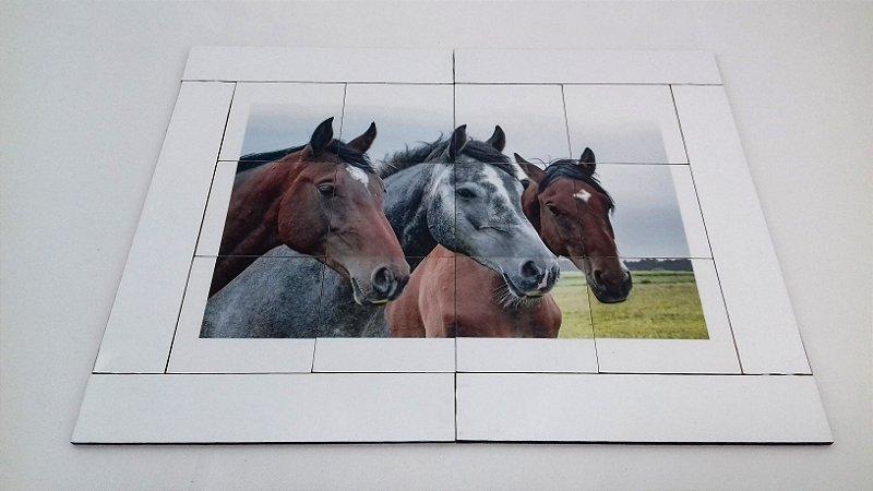 Quebra cabeça Sênior Cavalos 12 pçs MLQ1203 1 jogo 4 atividades Mundo Lúdico