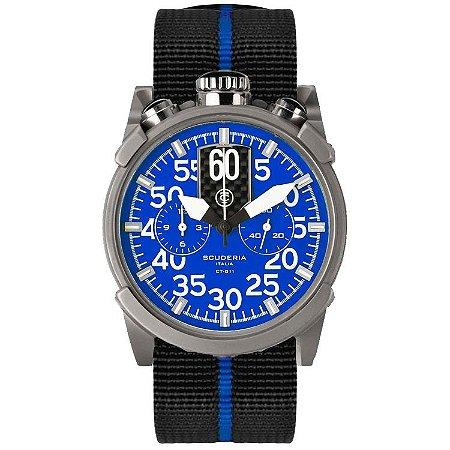 Relogio masculino esportivo CT Scuderia Saturno Azul e pulseira de Nylon preto