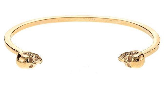 Pulseira de aço masculina estilo bracelete com enfeite de crânio dourada