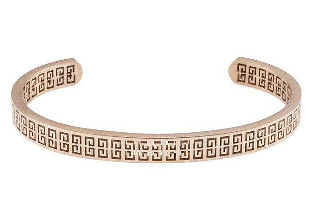 Pulseira de aço masculina estilo bracelete modelo Omega Rosé