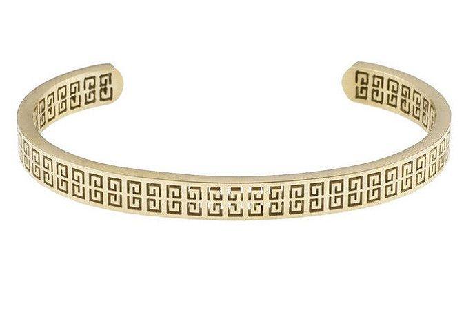 Pulseira de aço masculina estilo bracelete modelo Omega dourada