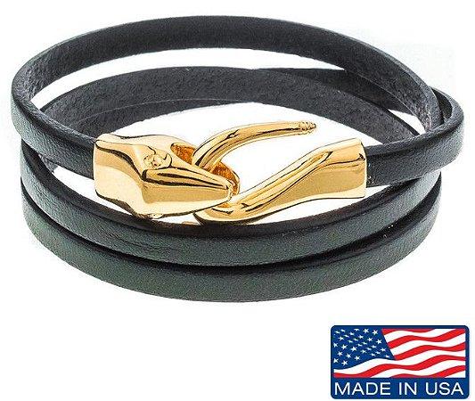 Pulseira de Couro masculina preta com fecho modelo cobra dourado