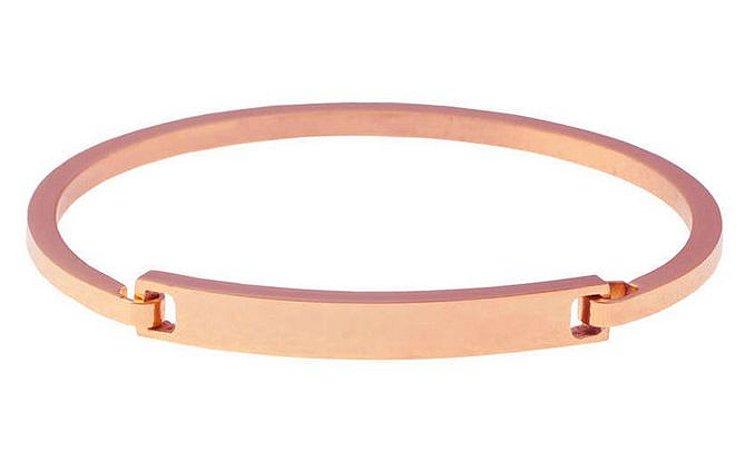 Bracelete masculino de aço inoxidável Rosé com fecho de encaixe