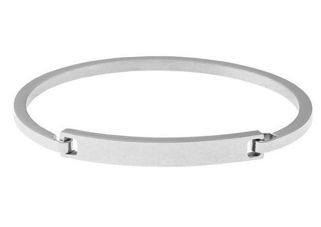Bracelete masculino de aço inoxidável com fecho de encaixe