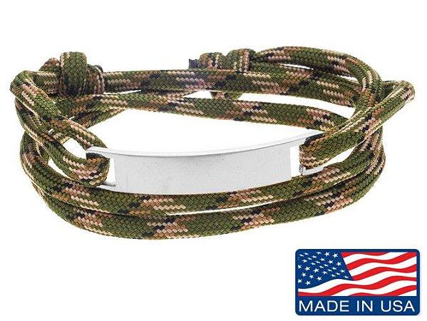 Pulseira de corda masculina camuflada com placa de aço inox