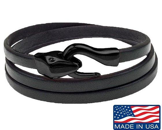 Pulseira de Couro masculina preta com fecho modelo cobra preto