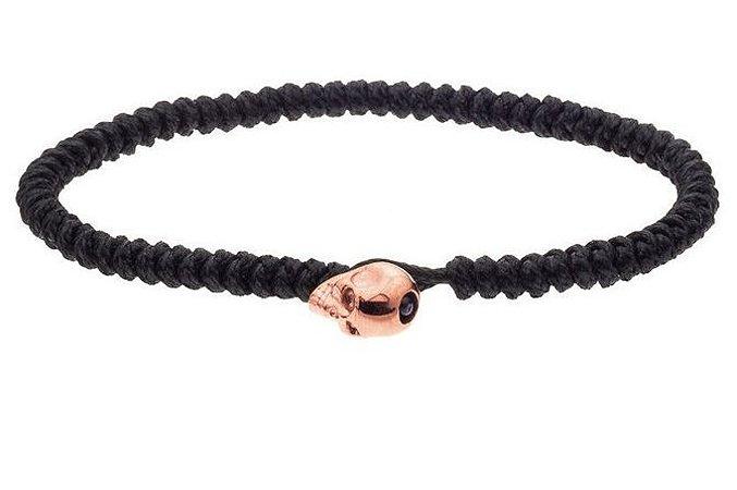 Pulseira de corda masculina com fecho de aço inox rosé em forma de crânio