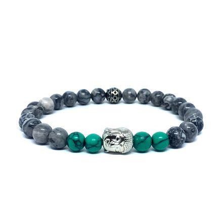 Pulseira de pedra masculina howlite cinza e verde