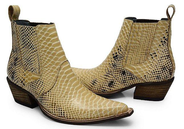 552484449 Bota country texana em couro bico fino cano curto estampa anaconda areia  1703-3154