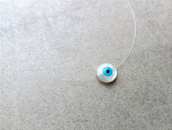 Colar Olho Grego Mini Madrepérola no Fio de Naylon