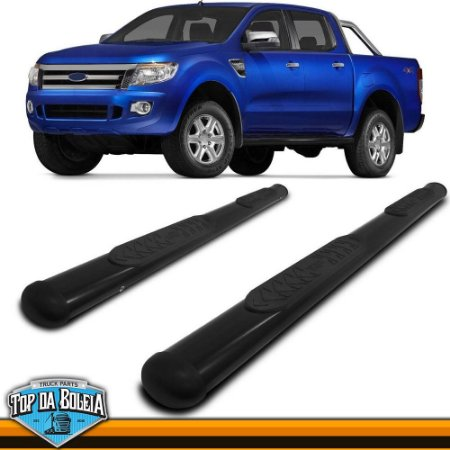 Estribo Lateral Alumínio Oval Preto para Pick-up Ford Ranger Cabine Dupla à Partir de 2013