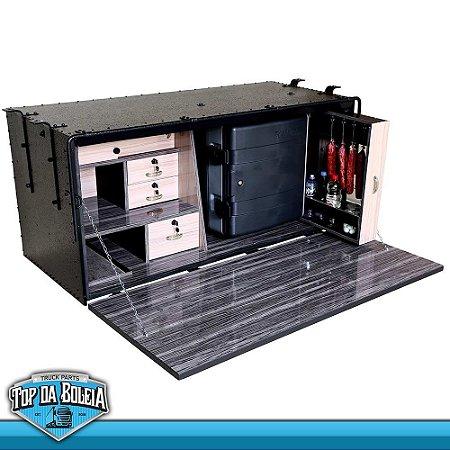Kit  Caixa de Cozinha Caibi Master Luxo de 1,51 X 70 X 62 com Geladeira Resfriar 12 24 Volts 67 Litros