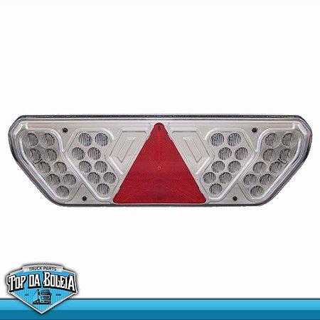Lanterna Traseira LED Tipo Guerra Lado Esquerdo com Lente Cristal 24v
