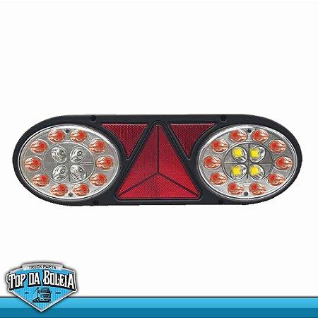 Lanterna Traseira LED Multifunção (3003) 12v Cristal Lado Esquerdo