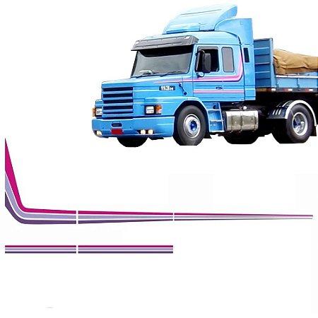 Conjunto Faixa Adesiva Roxa Caminhão Scania T 113