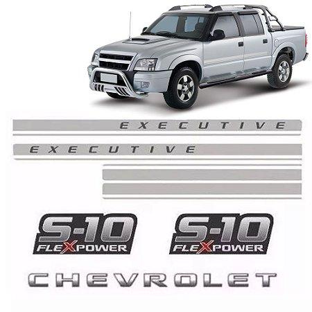 Conjunto Faixa Adesiva Prata Para S10 Executive 2009 Flex