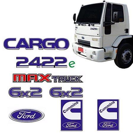 Kit Completo Emblema Ford Cargo 2422e + 6x2 + Maxtruck + Cummins