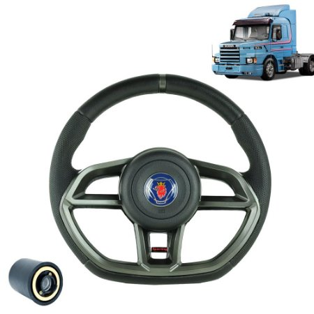 Volante esportivo para caminhão Scania 113 c/cubo mod Golf GTI