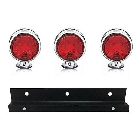 Kit 3 Lanternas Foguinho Vermelha Cromada com suporte