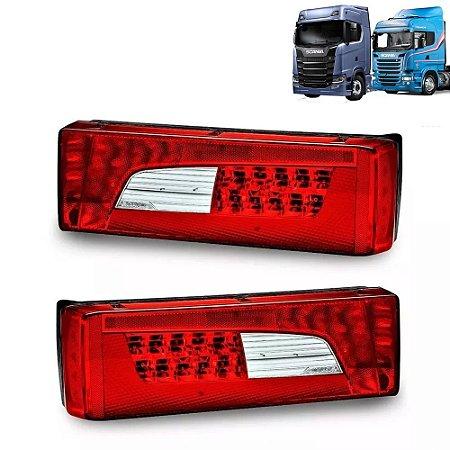 Par de Lanternas traseiras Scania Led S5 S6 S7 Streamline Após 2013 - 2241858 LD - 2241860 LE