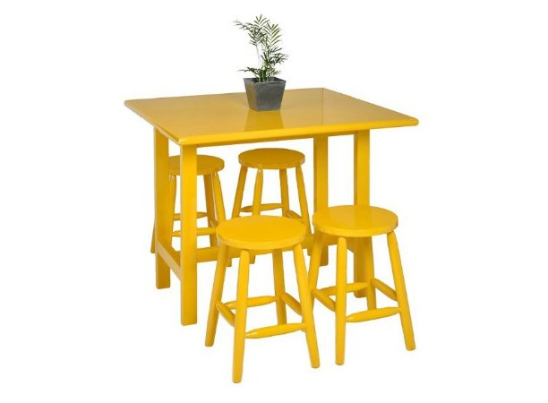 Mesa Elástica c/4 banquetas Kelly - Amarelo