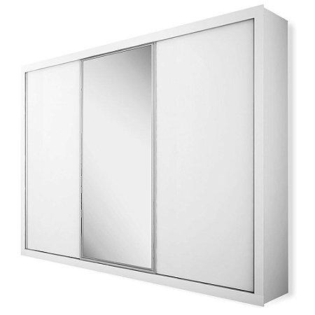 Armário 3 Portas Deslizantes Suíça c/ Espelho Central 2,42m - Branco