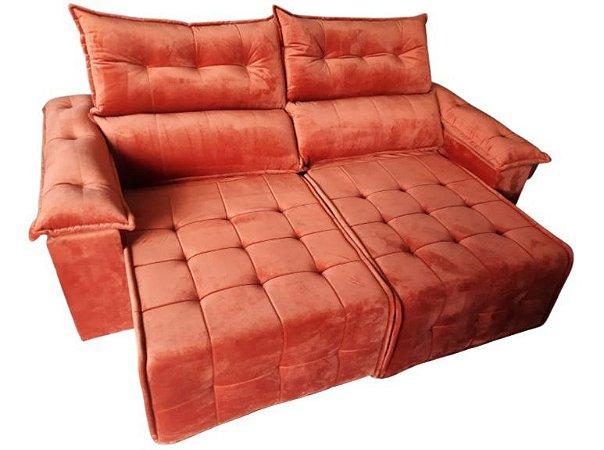 Sofá retrátil e reclinável Porto - Tecido veludo telha