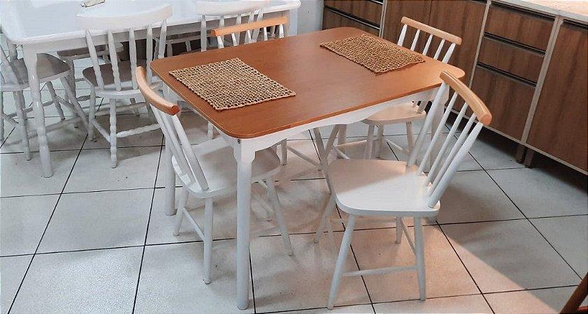 Mesa c/4 cadeiras Carol 1,10m - Natural c/branco