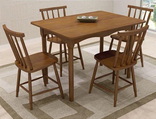 Mesa c/4 cadeiras Carol 1,10m - Imbuia