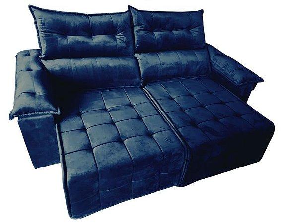 Sofá retrátil e reclinável Porto - Tecido veludo azul