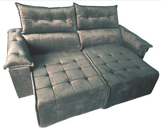 Sofá retrátil e reclinável Porto - Tecido veludo capuccino