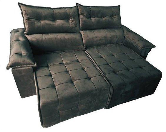 Sofá retrátil e reclinável Porto - Tecido veludo marrom escuro