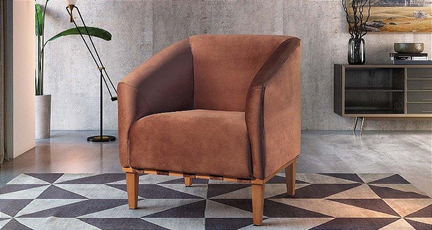 Poltrona Decorativa Marina - Tecido veludo medelim