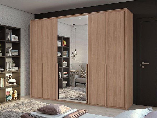 Armário 6 Portas Imperatore c/ espelho 2,74m - Carvalho naturale