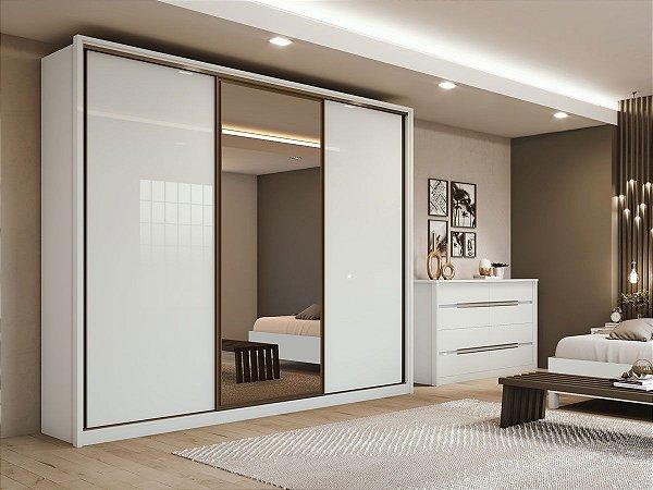 Armário 3 Portas deslizantes Gênova c/ espelho 2,71m - Branco
