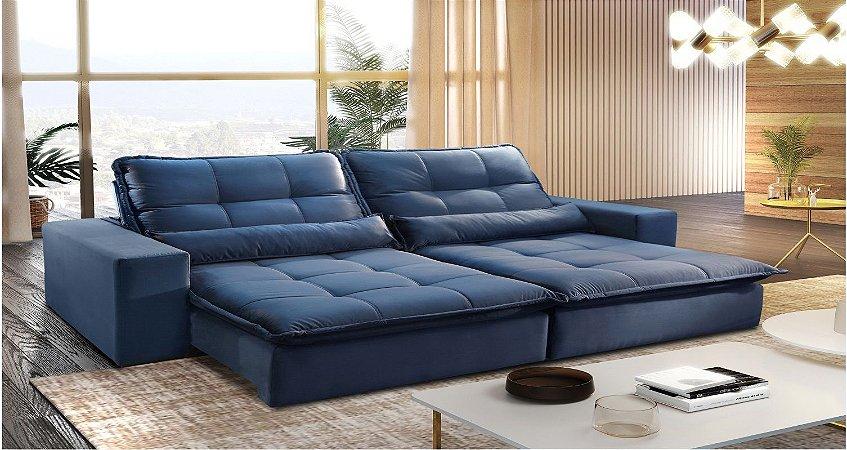 Sofá retrátil e reclinável São Francisco - Tecido camurça petróleo