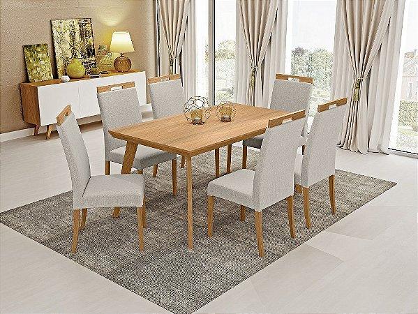 Mesa c/6 cadeiras Munique 1,60m - Avelã