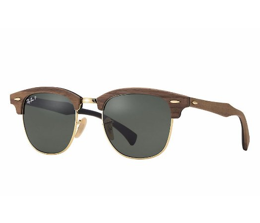 Ray Ban Clubmaster Wood - Lente Verde -  RB3016M 118158 51-21