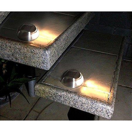 Balizador Solar Inox de Piso e Parede (kit 2 unids.)